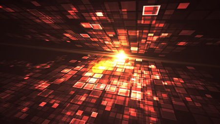 Abstract red light flashing rectangle grid perspective graphic illustration background. Digital technology futuristic concept.