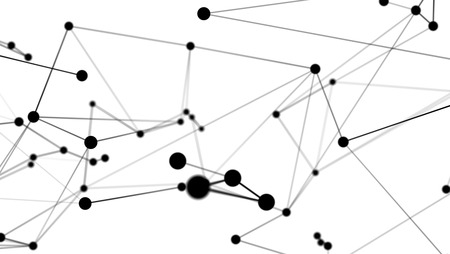 Abstract futuristic dot circle and line molecule network structure graphic illustration black color white background. Computer network connection digital technology concept.