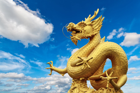Dragon statue and natural blue sky background