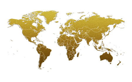 Gold metal plate world map isolated on white background Stock fotó