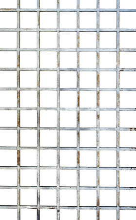 Welded wire mesh, Vertical rebar isolated on white background with clipping path