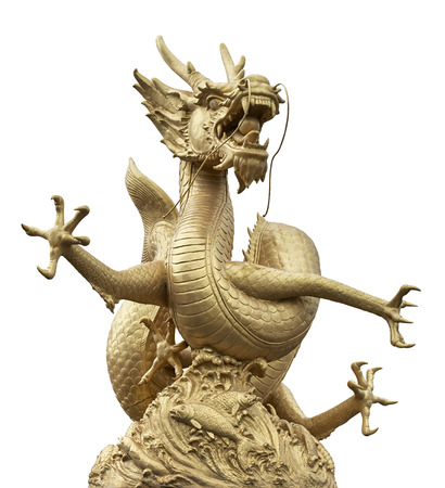 Golden Chinese dragon on isolate white background (Clipping path) photo