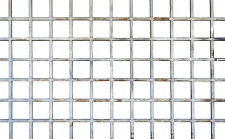 Welded wire mesh, rebar on white background