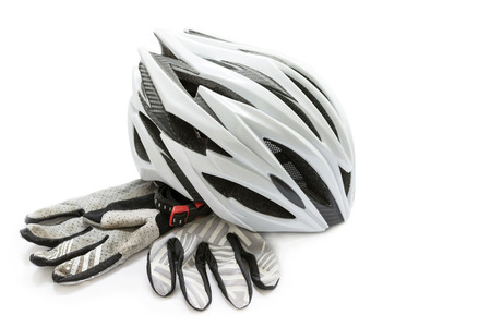 bicycle helmet and gloves on a white background