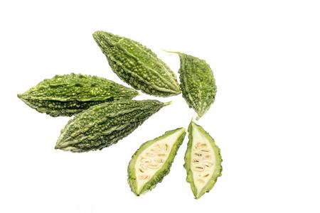 bitter melon: Bitter melon isolated on white background, Vegetable for Thai Cuisine