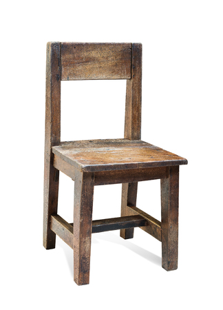 Old children's wooden chair on a white background, with clipping path