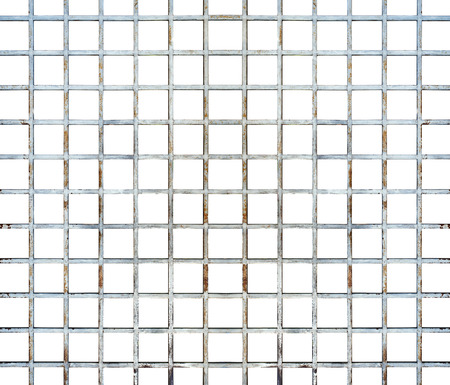 Welded wire mesh, rebar on white background, with clipping path