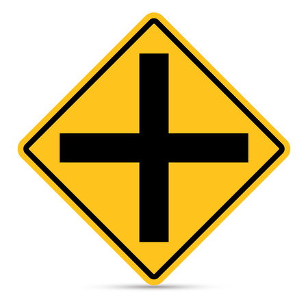 danger ahead: Traffic sign, Intersection ahead sign on white background, Vector EPS10