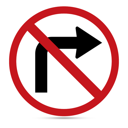 u turn sign: Traffic Sign, No turn right sign on white background Illustration