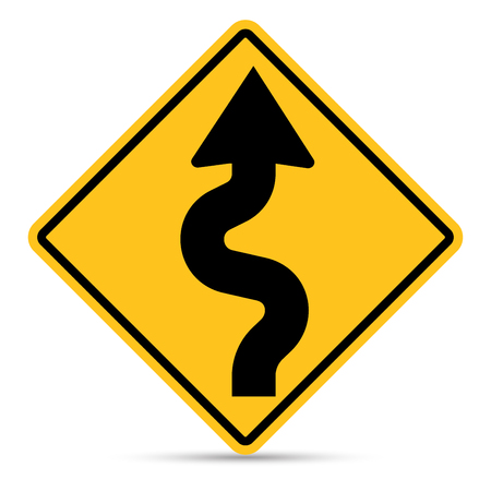 zag: Traffic Sign, Right zig zag road sign on white background Illustration