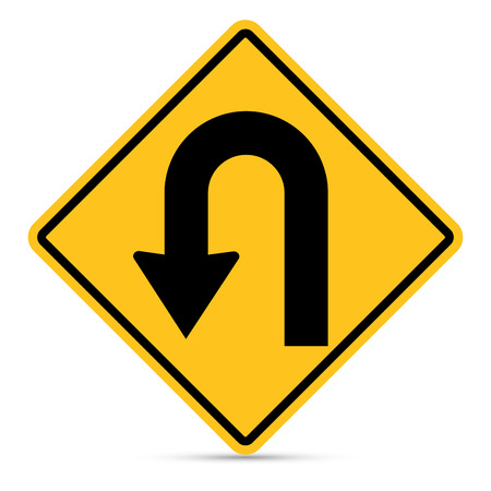 u turn sign: Traffic sign, Left U-Turn sign on white background