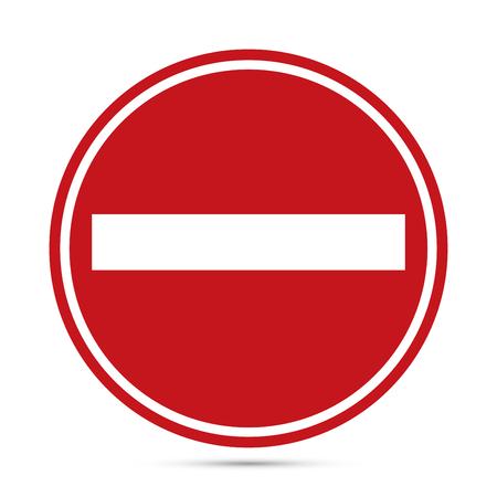 Señal de tráfico, advertencia icono del círculo rojo sobre fondo blanco. concepto de prohibición, sin símbolo de tráfico de la calle. Ilustración de EPS10 Ilustración de vector