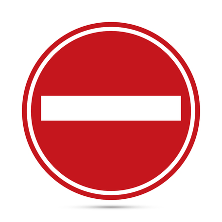 Traffic sign, Warning red circle icon on white background. Prohibition concept, No traffic street symbol. Vector EPS10