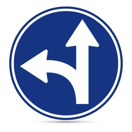 turn left sign: Traffic Sign, Go straight on ro turn left sign on white background