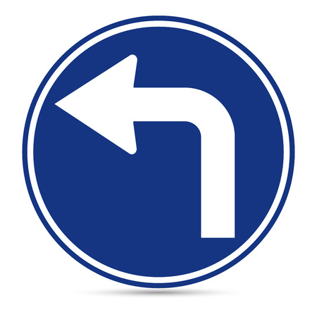 u turn sign: Traffic Sign, Turn left ahead sign on white background Illustration