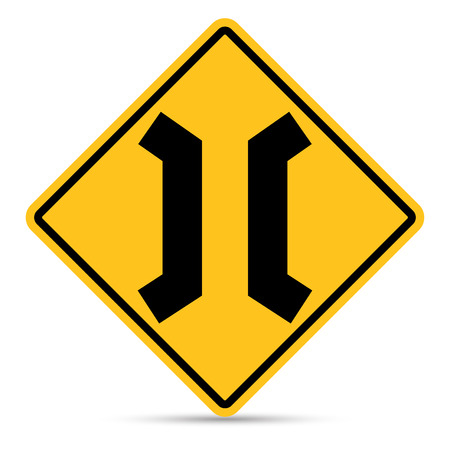 Traffic Sign, Approaching narrow bridge sign on white background