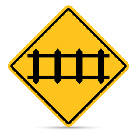 railroad crossing: Traffic sign, Secure railroad crossing sign on white background