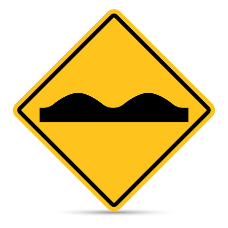 Traffic sign, Uneven road surface sign on white background
