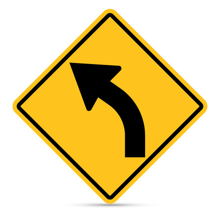 u turn sign: Traffic sign, Left bend sign on white background