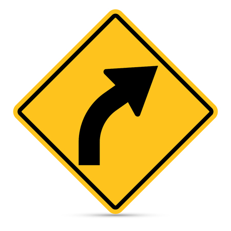 u turn sign: Traffic sign, Right bend sign on white background