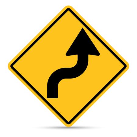 flecha direccion: Señal de tráfico, muestra de la derecha de la curva doble en el fondo blanco Vectores