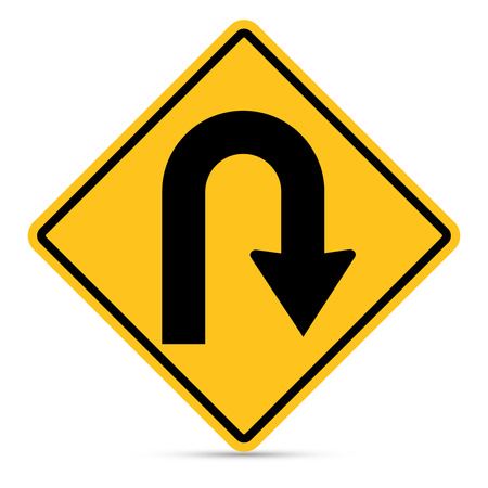 u turn sign: Traffic sign, Right,U-Turn sign on white background Illustration