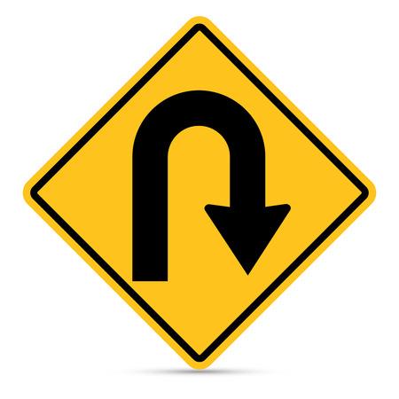 u turn: Traffic sign, Right,U-Turn sign on white background Illustration