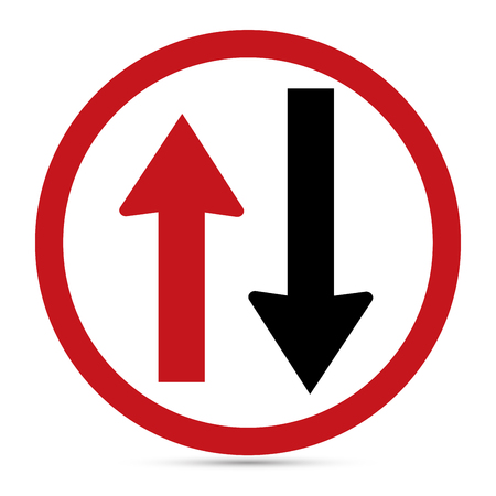 one lane road sign: Traffic sign, Two way warning sign on withe background