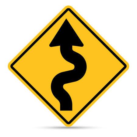 u turn sign: Traffic Sign, Left zig zag road sign on white background