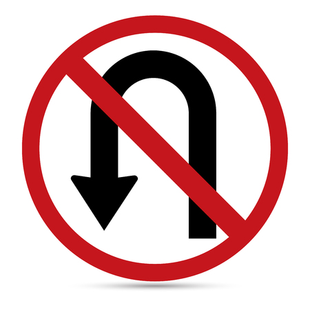 uturn: Traffic Sign, No left U-turn sign on white background Illustration