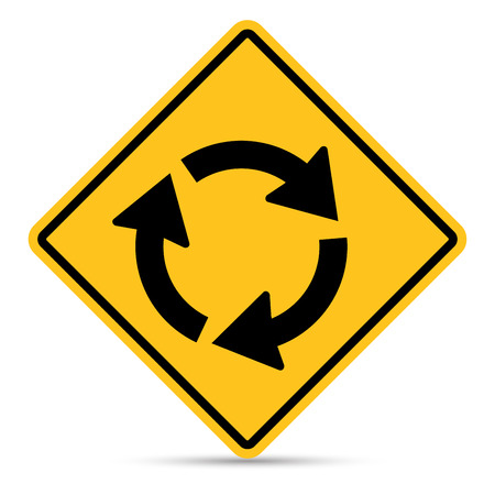 roundabout: Traffic Sign, Roundabout ahead sign on white background