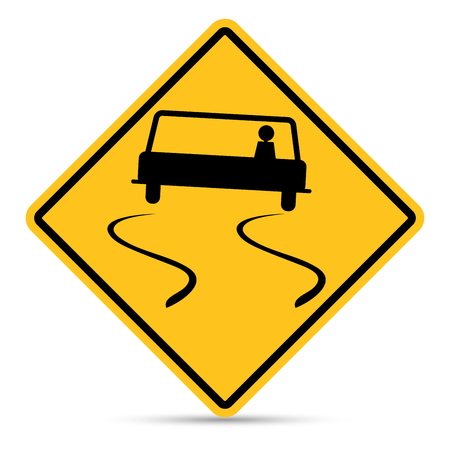 u turn sign: Traffic Sign, Slippery road sign on white background