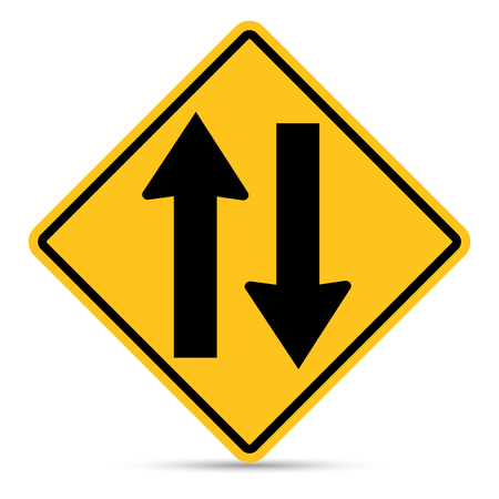 u turn: Traffic sign, Two way traffic ahead sign on white background