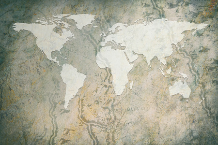 faded: Global map on paper map and rock texture background, Style grunge vintage.
