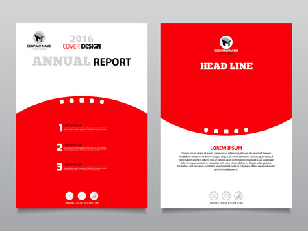 Red And White Annual Report Leaflet Brochure Flyer Template