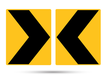 Black and yellow lines on sign, Traffic warning sign.
