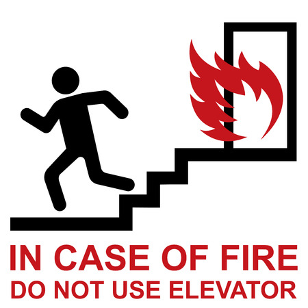 Do not use elevator in case of fire. Ilustração