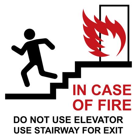 Do not use elevator in case of fire. Ilustração