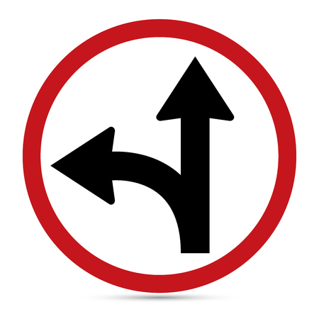 uturn: Traffic Sign, Go straight on or turn left sign