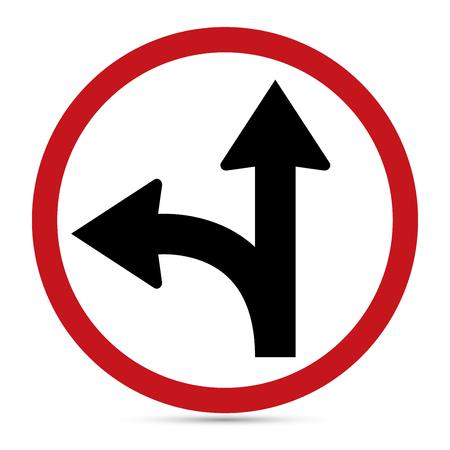 turn left sign: Traffic Sign, Go straight on or turn left sign