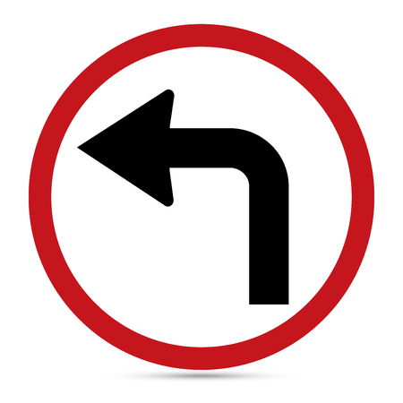 Traffic Sign, Turn left ahead sign.