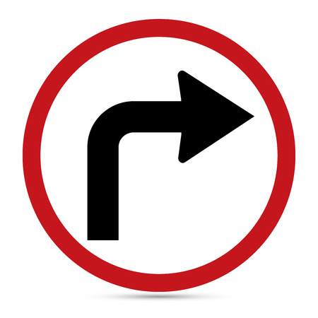 Traffic Sign, Turn right ahead sign.