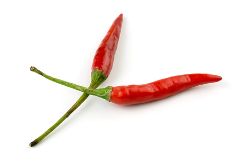 Red chilli pepper on white background.
