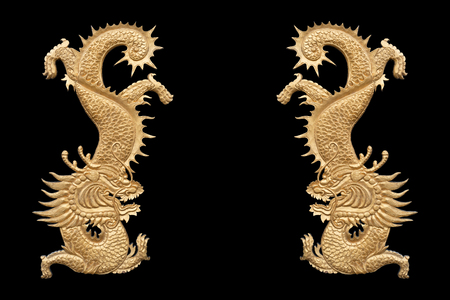 Twin golden wood dragon on black background.