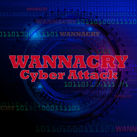 Cyber attack, computer infected with virus wannacry.