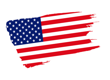American flag, United States of America, USA. Flat vector isolated on white background.