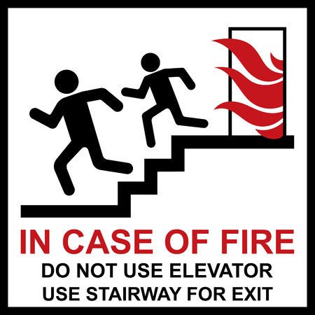 Do not use elevator in case of fire, Prohibition sign, warning banner.
