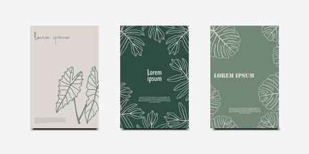 Minimal covers design. Tropical leaves set. Illustration