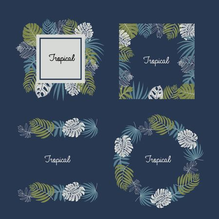 Vector set of tropical leaves, pattern brush, frame border design Illustration