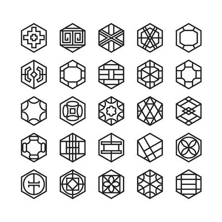 hexagon geometric vector icon , ornament Vettoriali